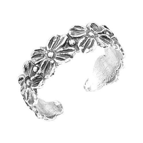 925 Flower Link Adjustable Toe Ring