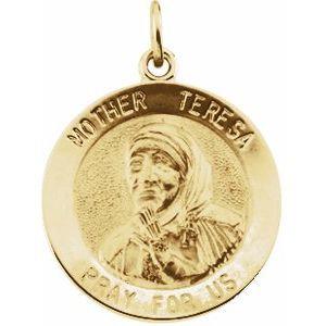 14K Yellow 18 mm Mother Teresa Round Pendant Medal