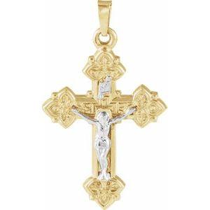 14K Yellow & White 27.5x20.5 mm Hollow Crucifix Pendant