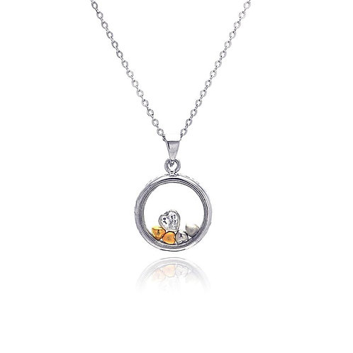 Hearts Multicolor Cubic Zirconia Sterling Silver Open Circle Necklace Pendant