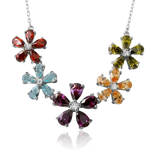 Flower Color Cubic Zirconia Sterling Silver Necklace