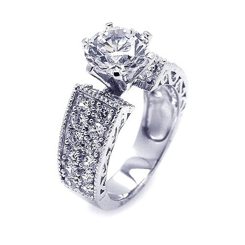 925 Rhodium Plated Pave Set Clear Round Center CZ Engagement Ring