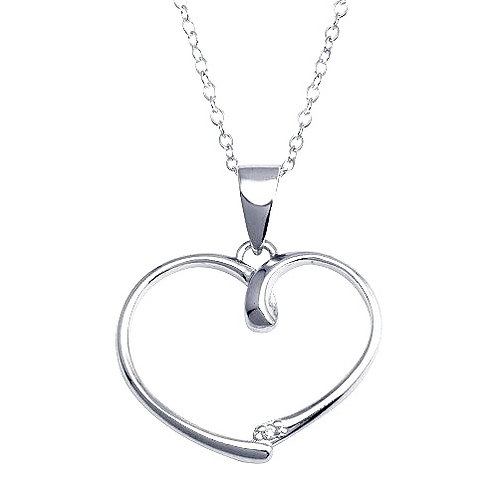 925 Rhodium Plated Open Heart Necklace