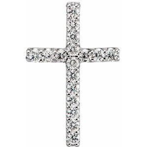 14K White .06 CTW Diamond Cross Petite Pendant