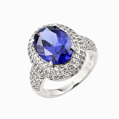 Blue & Clear Oval Sterling Silver Statement Ring