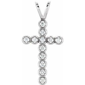 14K White 1/8 CTW Diamond Cross Pendant