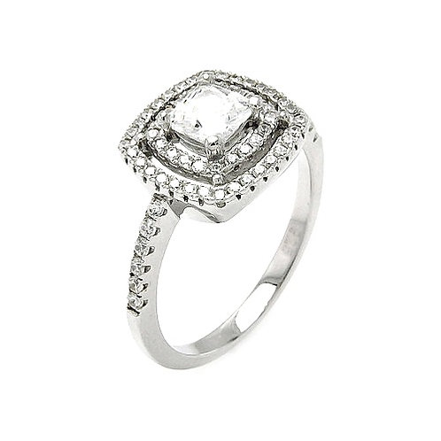 925 Rhodium Plated Micro Pave Clear CZ Multi Layer Square Ring