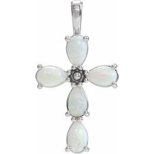 14K White Cabochon White Opal Cross Pendant