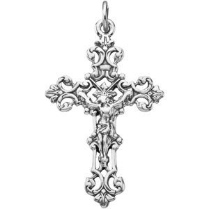 Sterling Silver 37.5x23.25 mm Crucifix Pendant