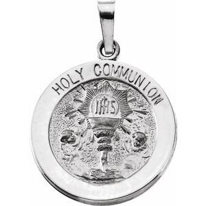 Sterling Silver 18 mm Round Holy Communion Medal