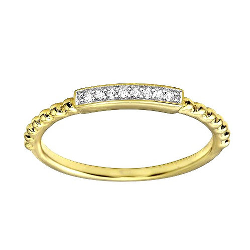 925 Gold Plated Bar Ring with CZ
