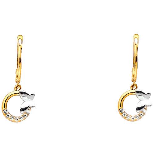 14K Two toneButterfly CZ Earrings