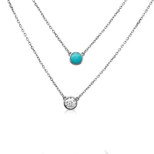Turquoise and Cubic Zirconium Sterling Silver Double Stranded Necklace