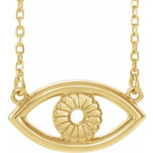 "14K Yellow Evil Eye 18"" Necklace"