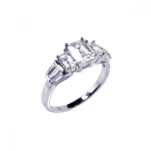 925 Rhodium Plated Clear Baguette Rectangular CZ Bridal Ring