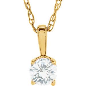 "14K Yellow Imitation Diamond ""April"" Birthstone 14"" Necklace"