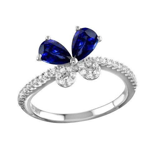 925 Rhodium Plated Blue Butterfly CZ Ring