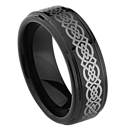 Black IP Plated High Polish Laser Engraved Celtic Knot Pattern - 9mm