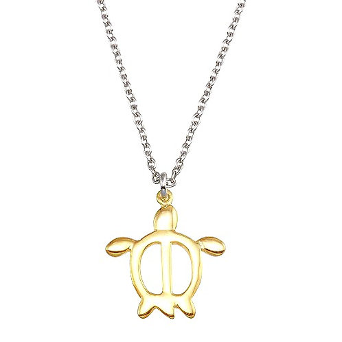 925 Two Toned Turtle Pendant Necklace