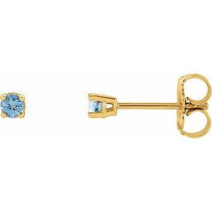 14K Yellow 2.5 mm Round Aquamarine Earrings