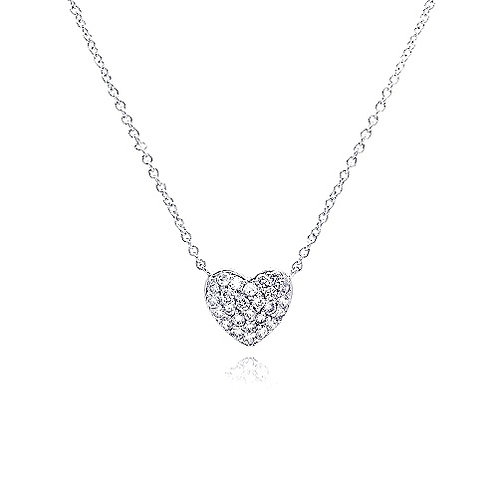 925 Clear CZ Rhodium Plated Heart Encrusted Pendant Necklace