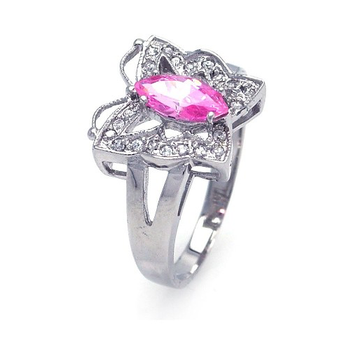 925 Rhodium Plated Pink Marquise Center Clear CZ Butterfly Ring
