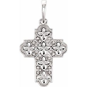 Sterling Silver Ornate Floral-Inspired Cross Pendant