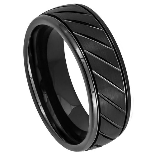 Black IP Plated Diagonal Grooves Stepped Edge - 8mm