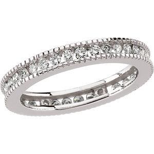 **18K White 3/4 CTW Diamond Eternity Band Size 6.5