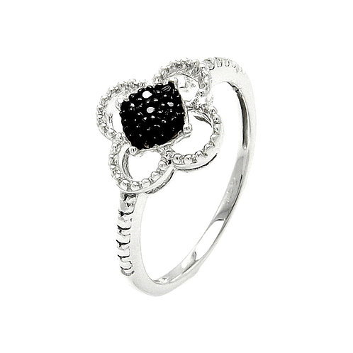 Sterling Silver Black & White Cubic Zirconia Flower Ring
