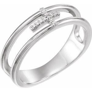 14K White .03 CTW Diamond Negative Space Cross Ring