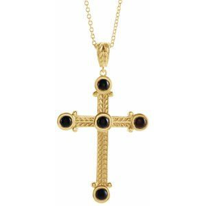 "14K Yellow Onyx Cross 16-18"" Necklace"