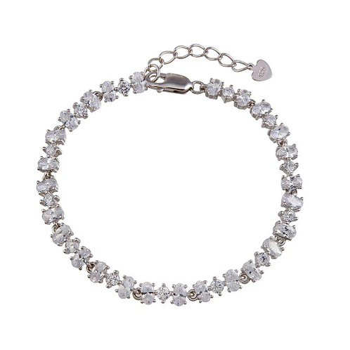 925 Rhodium Plated Link CZ Tennis Bracelet