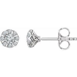 14K White 3/8 CTW Diamond Stud Earrings