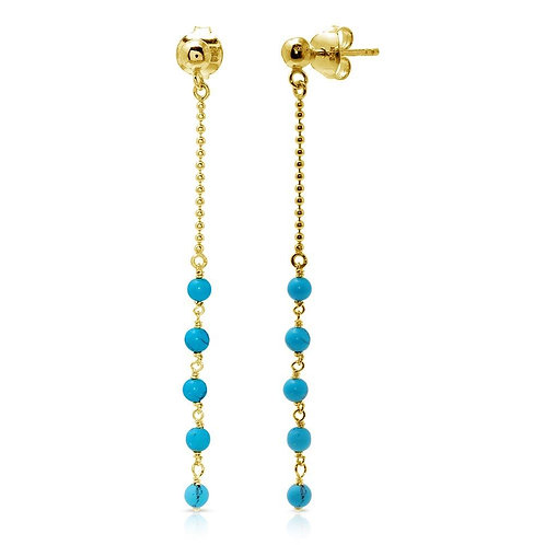 Dropped Turquoise Beads Sterling Silver Gold Plated Earrings