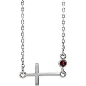 """14K White Garnet Sideways Accented Cross 16-18"""" Necklace"""