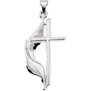 14K White 30x17.5 mm Methodist Cross Pendant