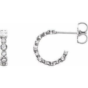 14K White 1/4 CTW Diamond Hoop Earrings