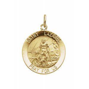 14K Yellow 18 mm Round St. Lazarus Medal