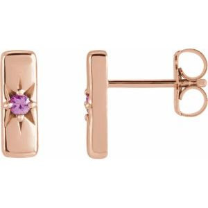 14K Rose Pink Sapphire Starburst Bar Earrings
