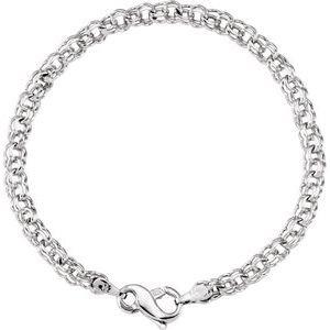 10K White Solid Double Link Charm Bracelet