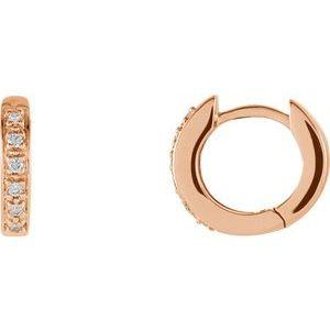 14K Rose 1/10 CTW Diamond Hoop Earrings