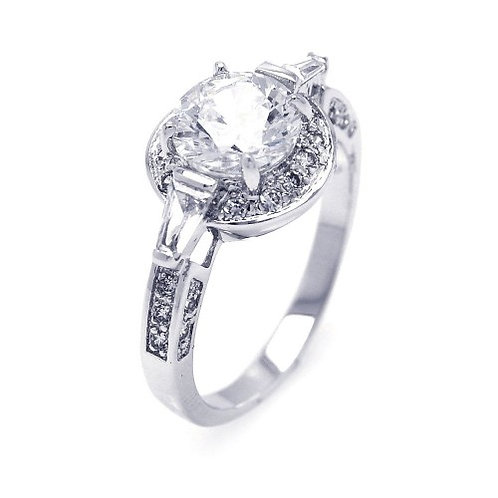 925 Rhodium Plated Clear CZ Round Bridal Ring