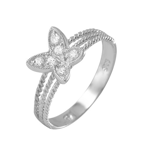 925 Rhodium Plated Butterfly CZ Ring