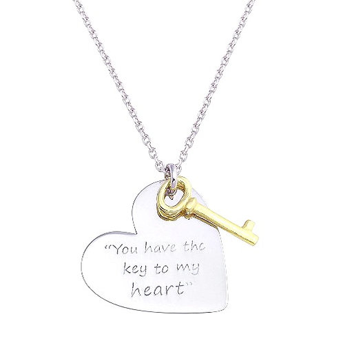 925 Rhodium Plated Heart with Gold Key Necklace
