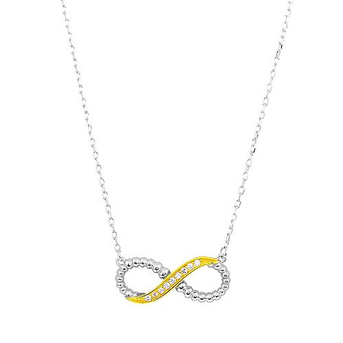 925 2 Toned Rhodium Gold Plated Infinity CZ Necklace