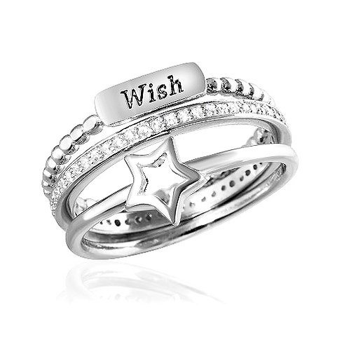 925 Rhodium Plated Triple Band Wish Star Wedding Ring with CZ