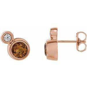 14K Rose Citrine & .03 CTW Diamond Earrings