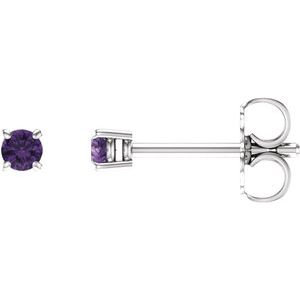 14K White 2.5 mm Round Amethyst Earrings