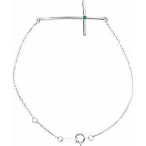 Sterling Silver Imitation Emerald Sideways Cross Bracelet
